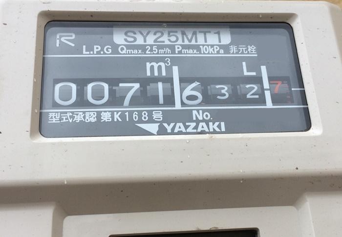 ガスメーターの使用量表示部分